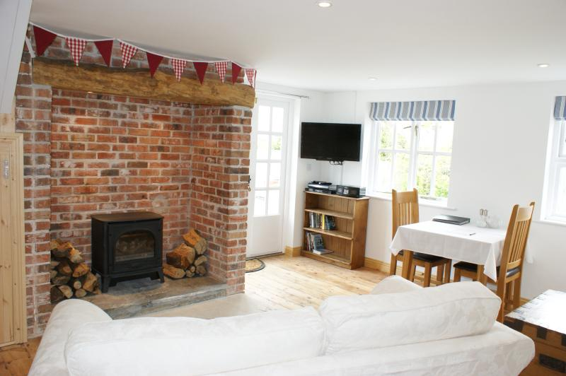 Living area with gas stove