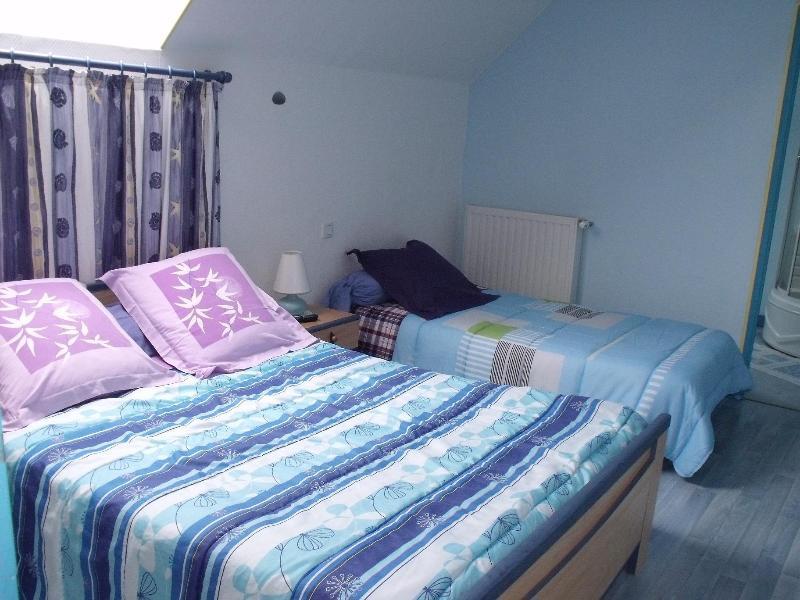 chambre bleue  triple avec douche hydromassante