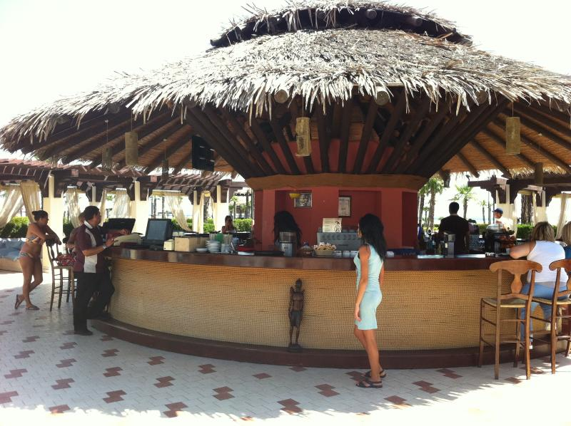 A Sunny Beach beachside pool bar