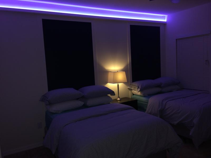 Boy Bedroom with 2 Full size bed, Personalise your light Above, Great fun.
