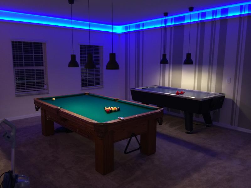 Real 8' Sled Pool table and 8' air Hockey. professional lighting. 2nd floor.