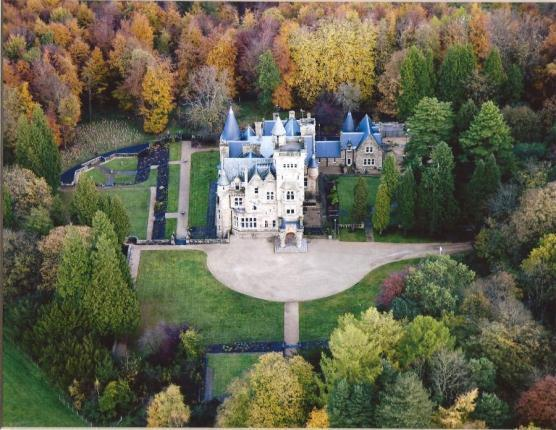 Aerial view, stunning grounds nestled in a quiet woodland setting for a special Scottish experience