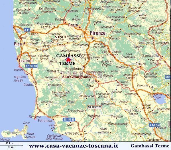 Posizione al centro della Toscana