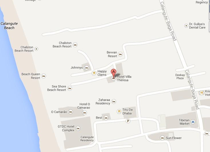 Location on Google map, only a few meters from Calangute Beach