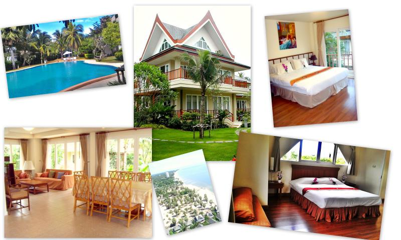 4 bedroom beach villa, 3 swimming pools, private spa, sleeps 8 comfortably. Set in tropical gardens