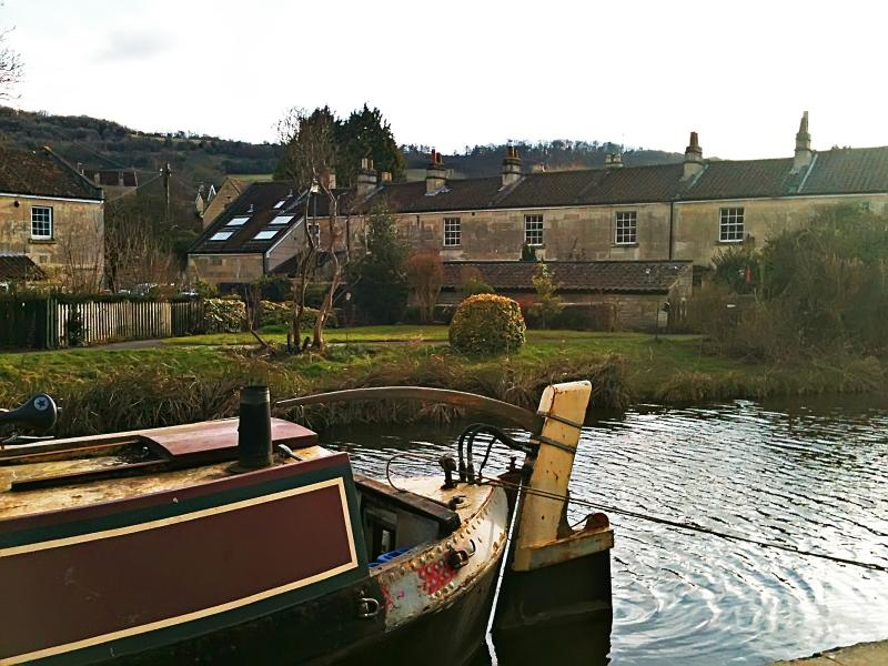 View from the canal towpath towards Canal View in the picturesque village of Bathampton.