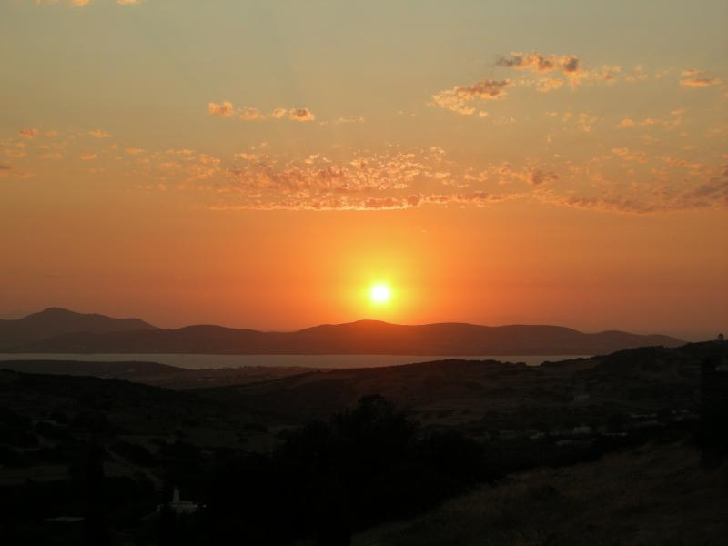 A wonderful sunset and a view to Antiparos
