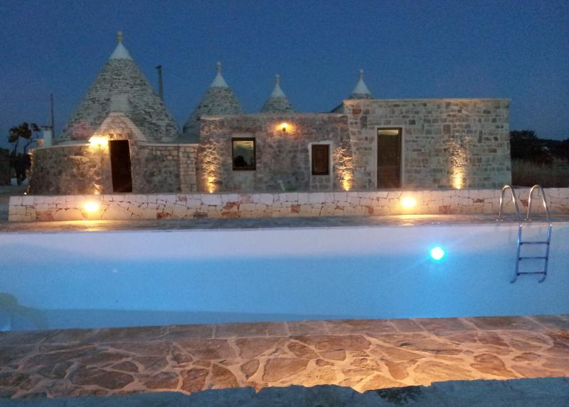 Rear of Trullo and Pool with 'mood lighting'