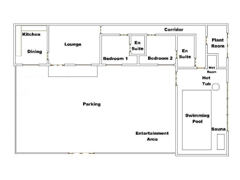 Un plan de la casa - puedes ver cuán cerca está la piscina.