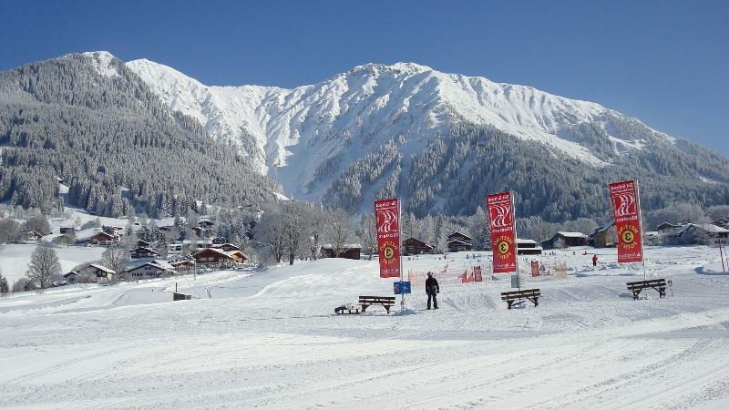 Beginners skiing area - just 50 metres from Chalet Arve