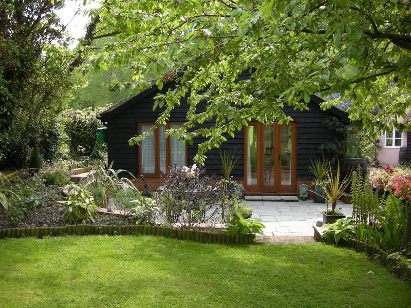 View across the terrace to the cottage