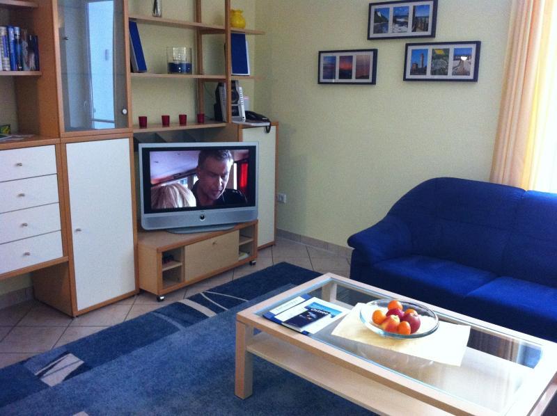 Wohnbereich mit großem Flachbildschirm