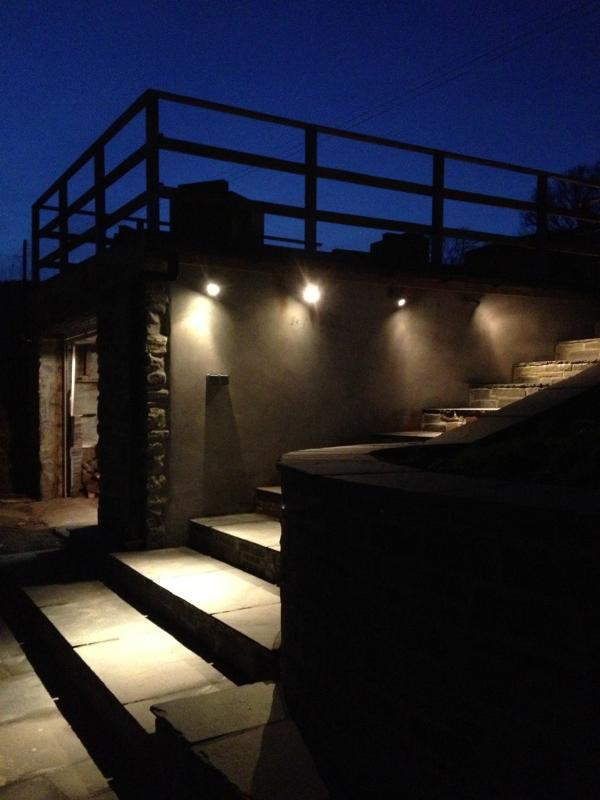 Stairs up to Hot Tub at night