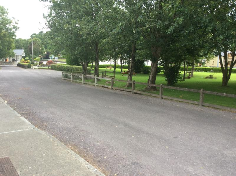 View of the green, back towards the main road, from our front door.