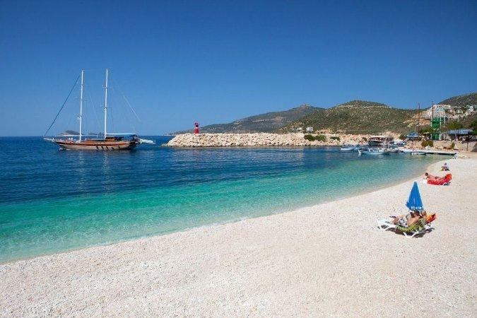 Kalkan's white pebble beach with blue flag award for cleanliness