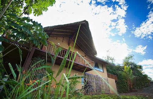 The front of the jungle villa with its impressive bamboo palapa roof.