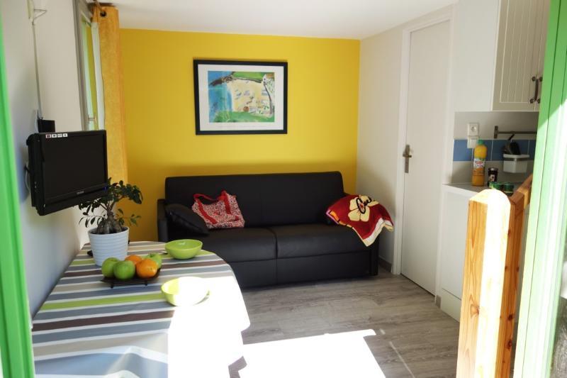 Sala com sofá-cama e televisão