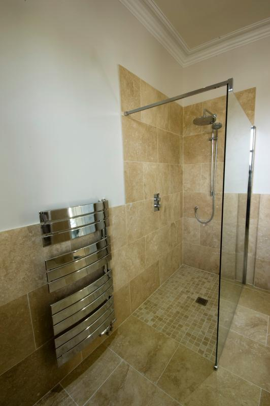 Main bathroom's large walk in drench shower