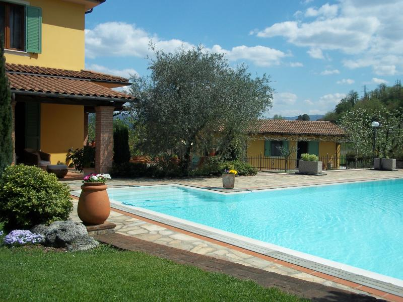 Piscina e Villa Limonaia sullo sfondo a destra