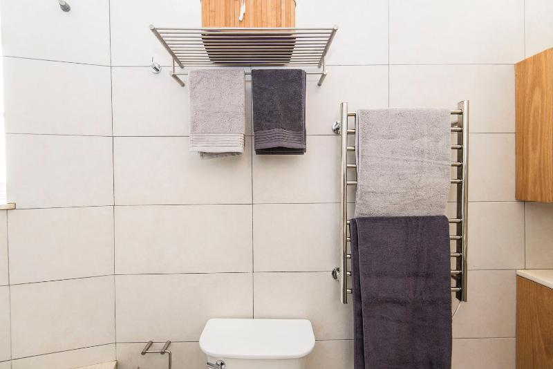 Cotton towels in bathroom