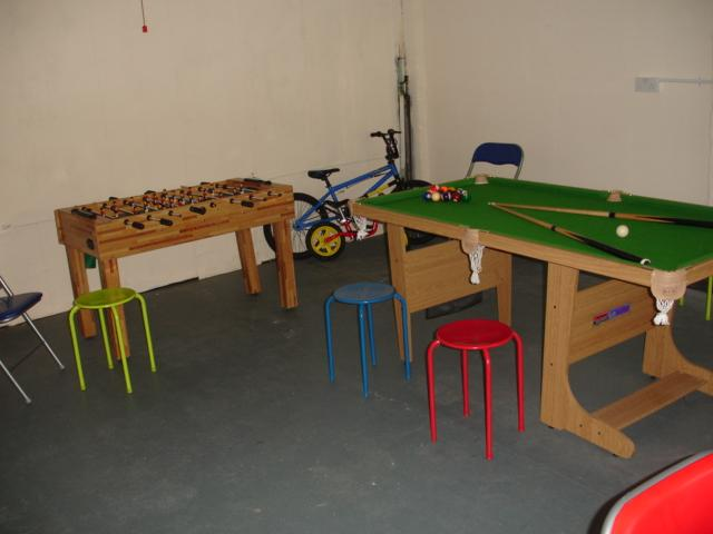 Playroom for games, billiards, snooker and table football, games and lots of seats