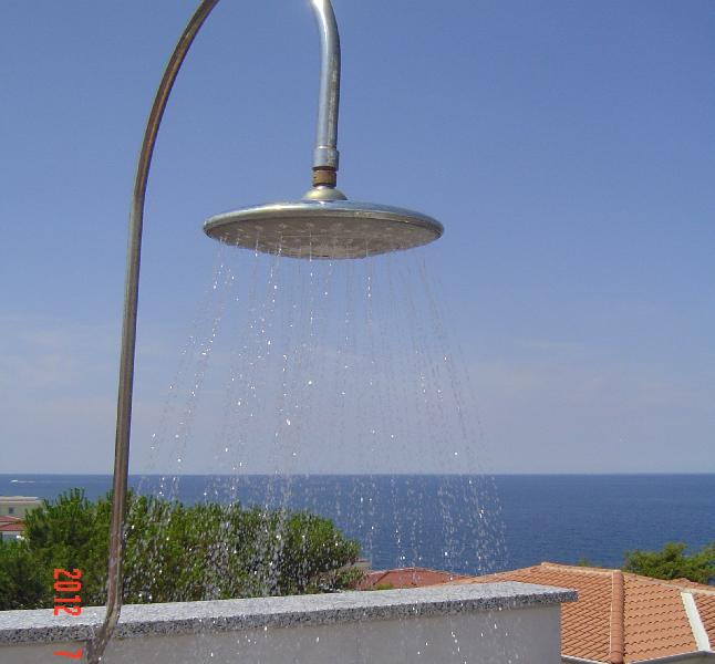 Roof terrace balcony outdoor shower with stunning sea views