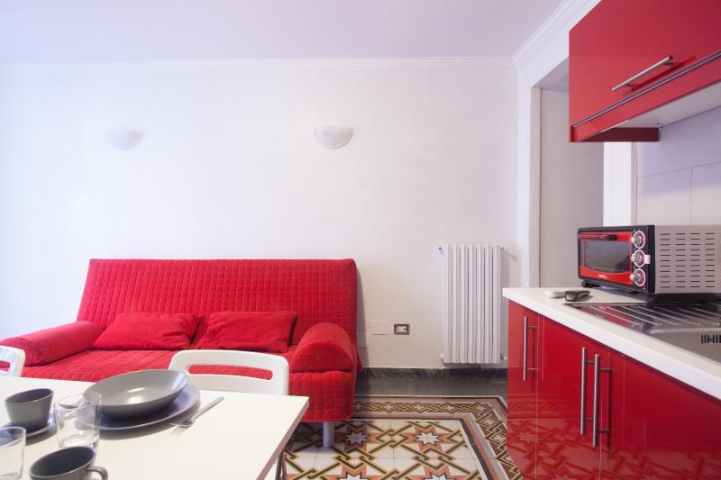Living room with kitchenette and sofa double bed