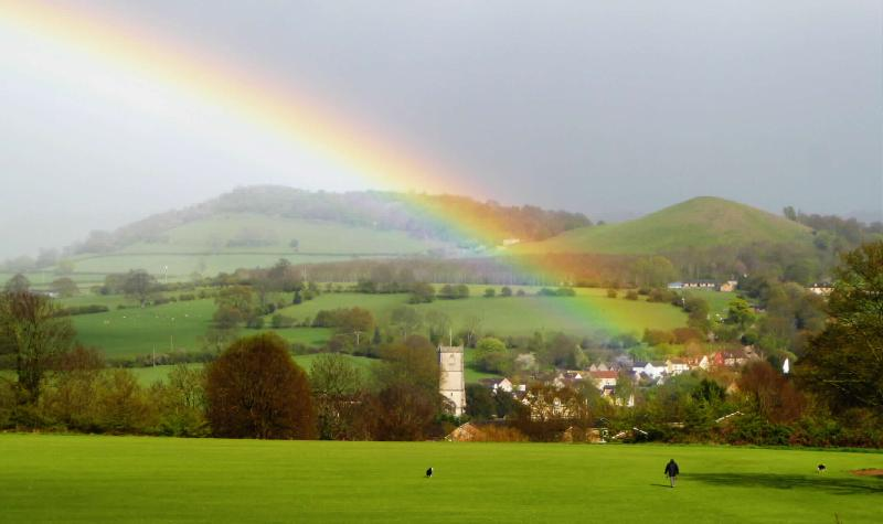 Rainbow over Cam Peak, on the beautiful Cotswold Way that runs close to Onespringbank.