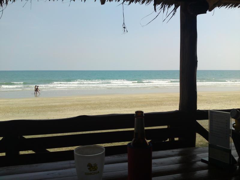 A beer at a quiet beach restaurant