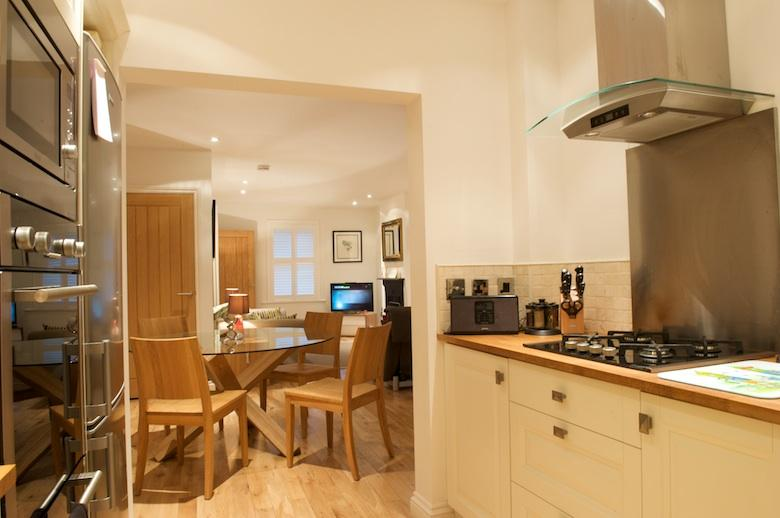 Open plan kitchen through to the dining area and sitting room