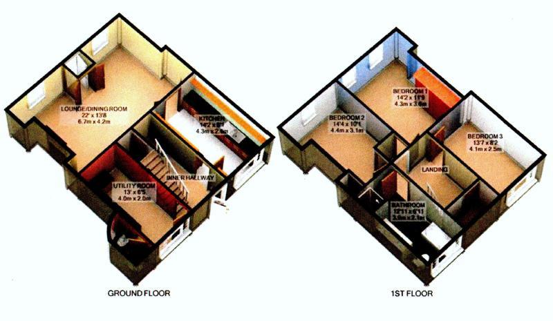 3D plan of Red Gap Cottage.