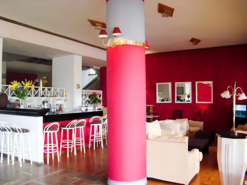 Lounge area with coffee bar.