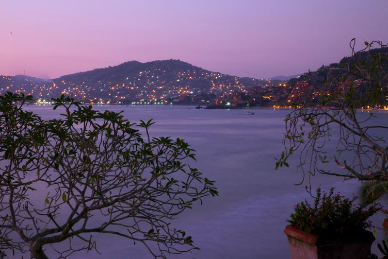 Looking at downtown Zihuatanejo at twilight, from our Patio