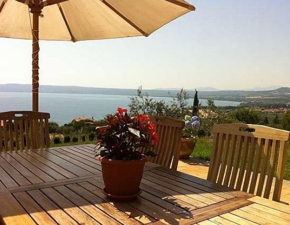 Outside dining with breathtaking views of Lago di Bolsena and Monta Amiata