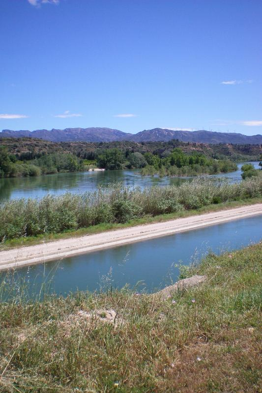 The canal, River Ebro (right next to each other) and the lovely surrounding mountains.