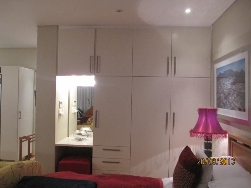 Ample cupboard space in the large bedroom and dressing table with hair dryer