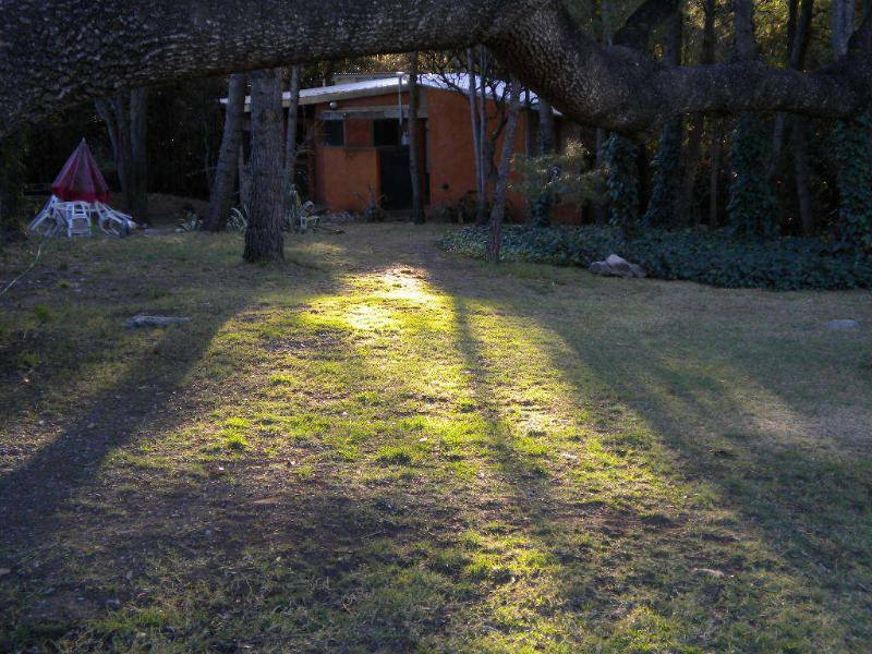 la cabaña vista desde el parque