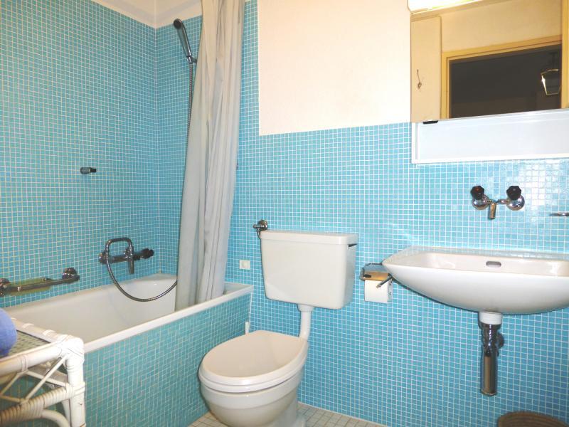 Bathroom off hallway.