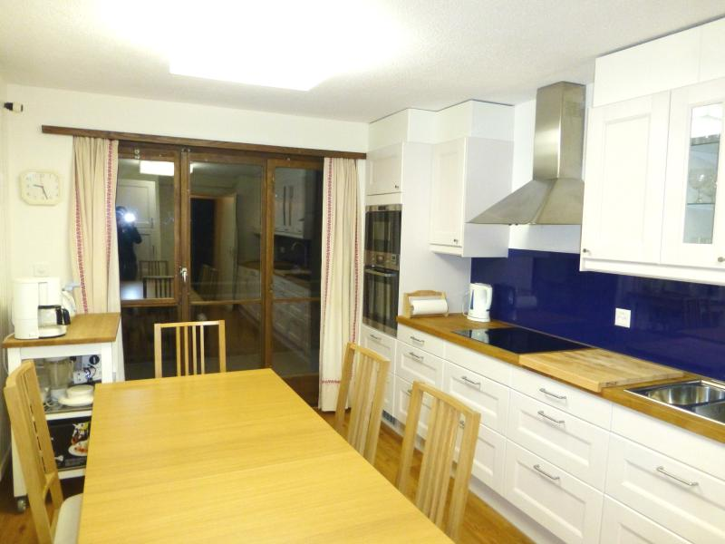 Large Kitchen with lots of preparation area and butchers block, also large eating area in kitchen.