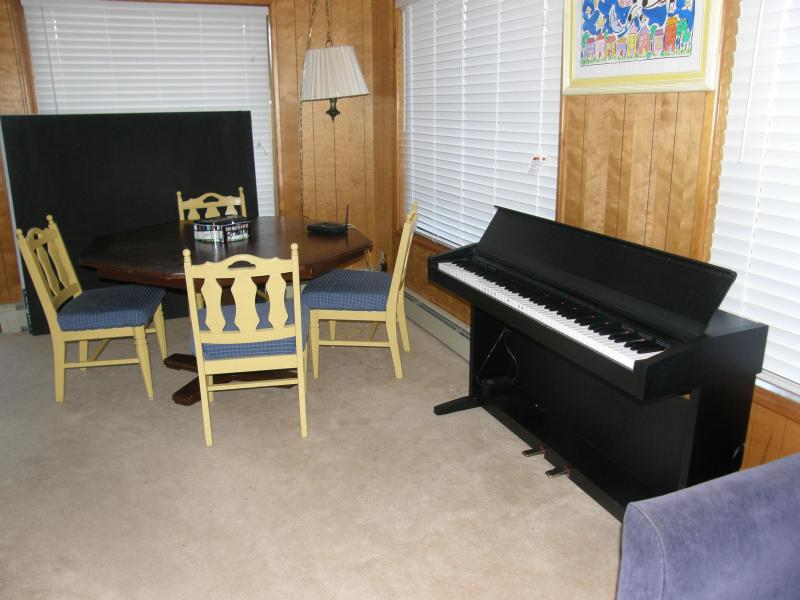 Piano / game table downstairs