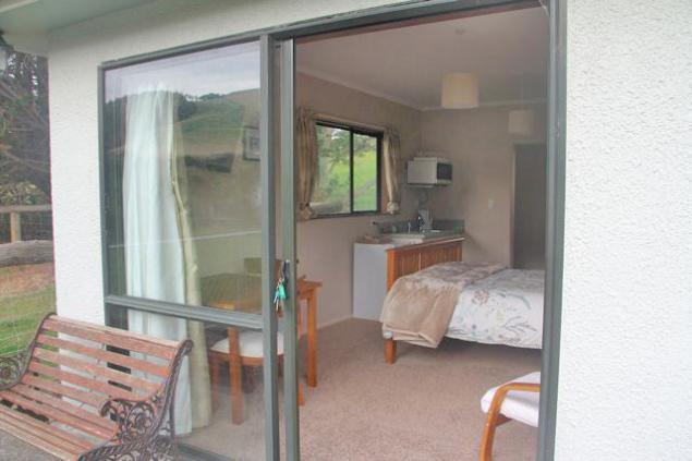 Double bedroom with flat screen TV and French window