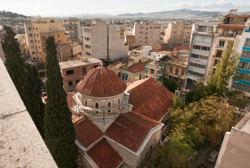St Dimitrios square, view from the roof top terrace
