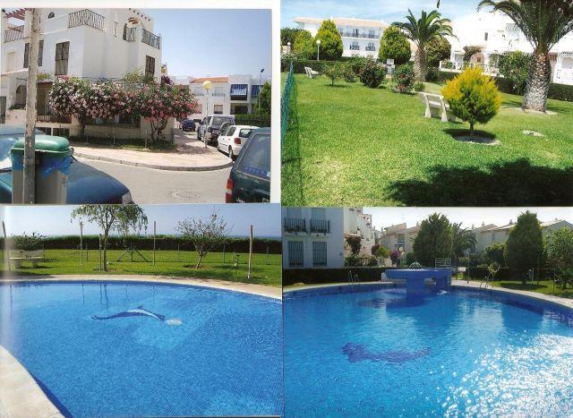 Vistas de piscina grande, jardines y comunidad.