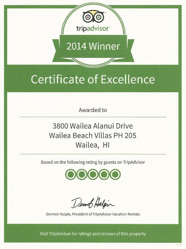 Trip Advisor certificat d'Excellence