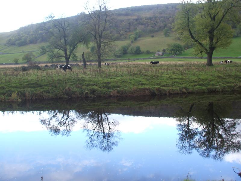 Reflections in the Wharfe on the Dales Way near Kettlewell