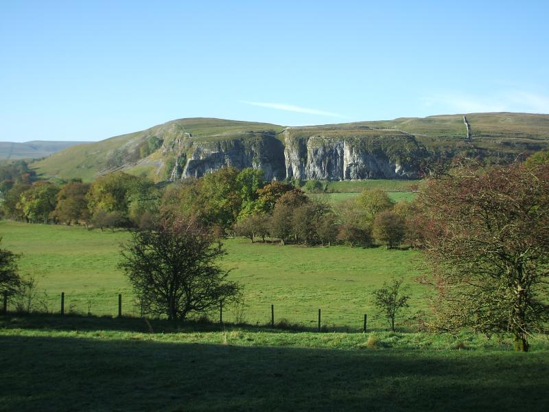 Bright and sunny day at nearby Kilnsey Cragg