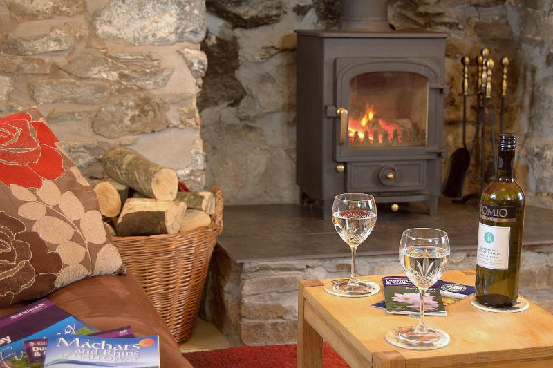 Auld Smiddy Cottage cosy sittingroom with log fire.
