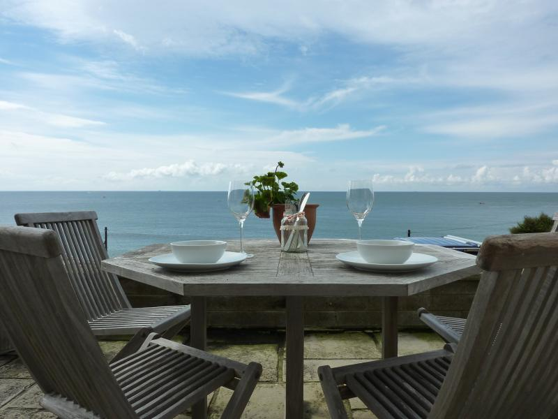 Panoramic sea views from patio