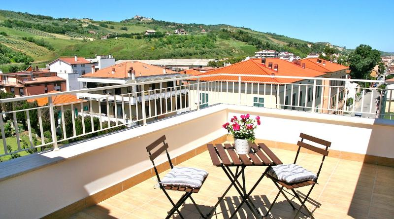 Spacious terrace overlooking hills