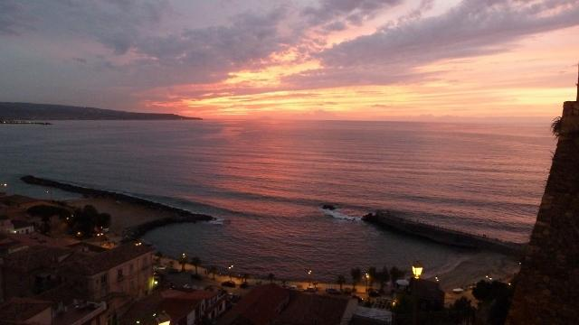 Sunset over Gulfo San Eufemia from the piazza in Pizzo